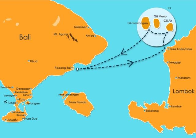 bali to Gili Map